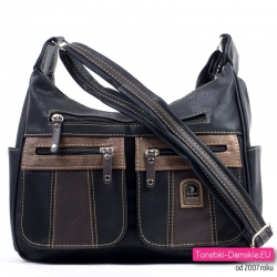 Dwukomorowa średniej wielkości damska torebka w kolorze czarnym z brązowymi elementami