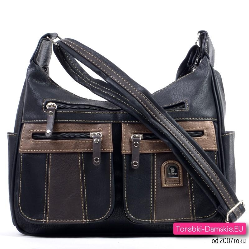 Czarna torebka z szarymi i brązowymi elementami. aż 6