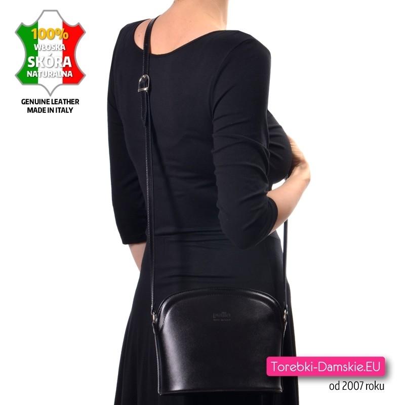 Czarna lekka włoska torebka ze skóry do noszenia w przewieszeniu