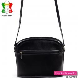 Skórzana lekka czarna mała torebka na długim pasku