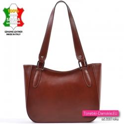 Brązowa skórzana lekka torebka włoska w eleganckim stylu