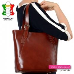 Włoska torba damska na ramię w kasztanowym odcieniu brązu