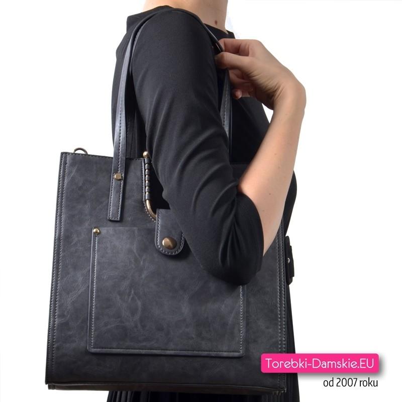 Grafitowa torba damska na ramię lub do przewieszenia z