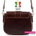 Włoskiej produkcji damska torebka z brązowej skóry licowej