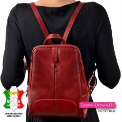 Plecak damski z grubej czerwonej naturalnej skóry licowej