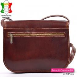 Skórzana włoska brązowa torebka z grubej skóry z kieszenią z tyłu
