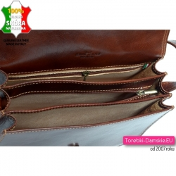 Skórzana trójkomorowa torebka włoska listonoszka