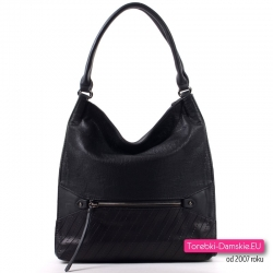Czarna tania torba damska - duży worek na ramię