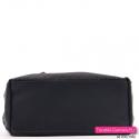 Duża damska czarna torba z płaskim spodem usztywnionym