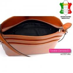 Skórzana torebka kolor rudy brąz z dwoma kieszonkami z przodu