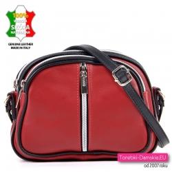 Włoska czerwona skórzana torebka z pionowym suwakiem z przodu