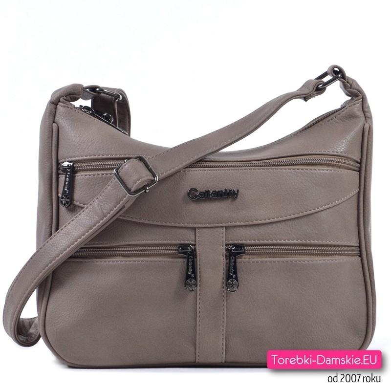 Beżowa dwukomorowa torebka z kieszonkami z przodu - 89,00 zł