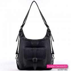 Czarny tani torbo - plecak ze skóry ekologicznej