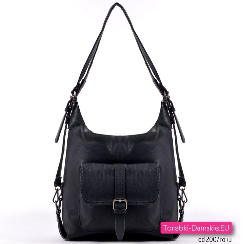 Czarny torbo - plecak z kieszonką z przodu i ozdobną sprzączką - 99,00 zł