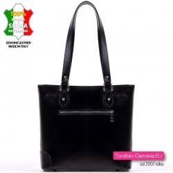 Skórzana czarna włoska torebka damska średnia i lekka