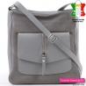 Skórzana torebka listonoszka włoska kolor popielaty
