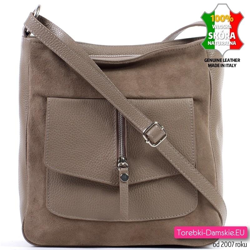 Beżowa skórzana torebka średniej wielkości z kieszonką z przodu - 179,00 zł