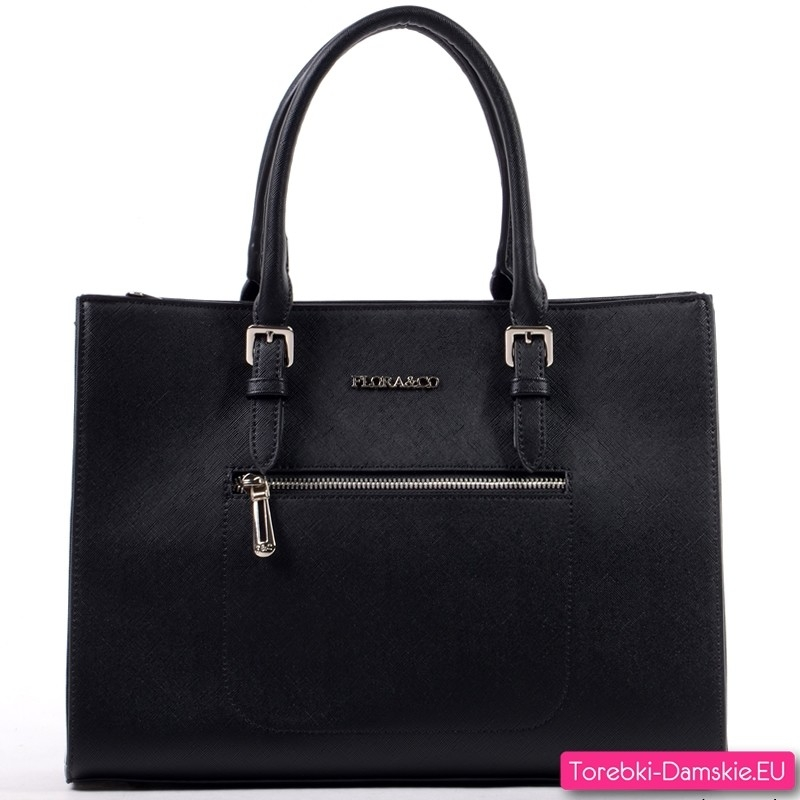 Czarny kuferek A4 - teczka damska z kieszenią z przodu i z tyłu - 119,00 zł
