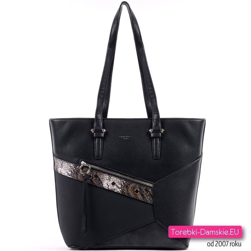 Czarna torba shopper - duży model ze wstawką z wężowej skóry i nitami ozdobnymi - 119,00 zł