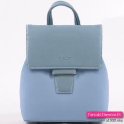 Błękitny plecak damski średniej wielkości z klapą