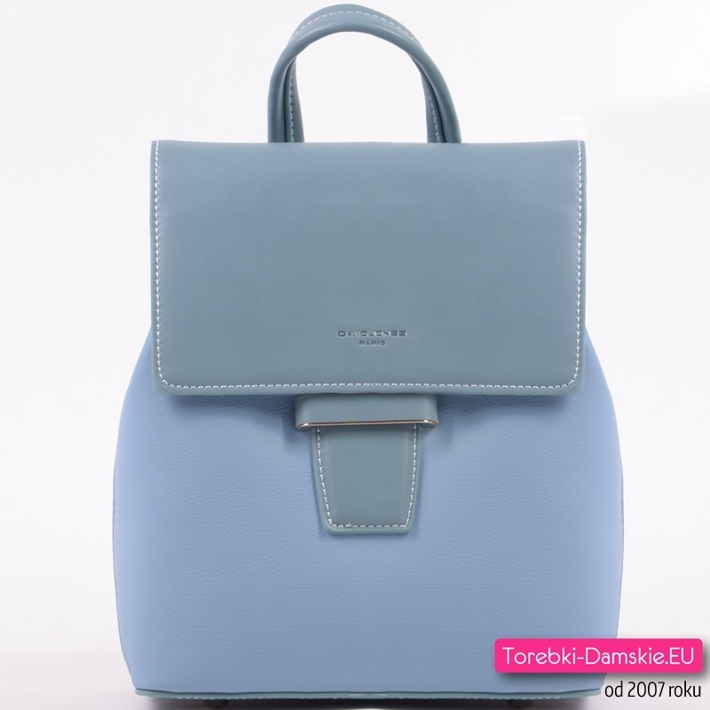 Błękitny plecak damski z klapą - model średniej wielkości z rączką do podnoszenia
