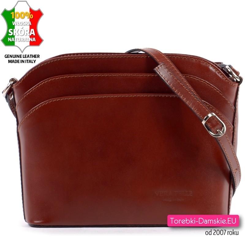 Brązowa mała torebka skórzana z dwoma kieszeniami z przodu - 129,00 zł