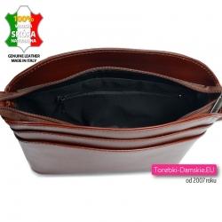 Włoska brązowa torebka skórzana zamykana szczzelnie zamkiem błyskawicznym