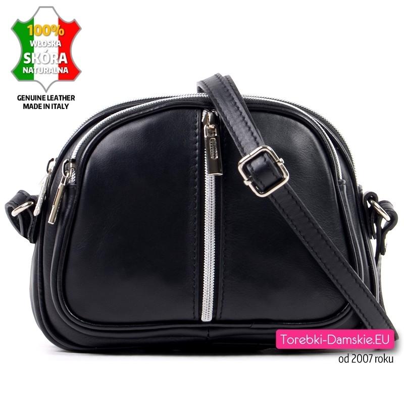 Czarna torebka skórzana - mały model do przewieszenia ze srebrnym suwakiem z przodu - 119,00 zł