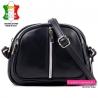 Czarna torebka skórzana - mały model do przewieszenia ze srebrnym suwakiem z przodu