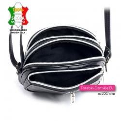 Funkcjonalna torebka włoska z czarnej miękkiej skóry - mały model trzyczęściowy