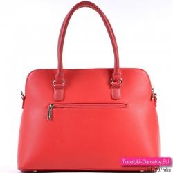 Truskawkowa torebka damska z kieszenią z tyłu