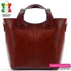 Brązowy shopperbag ze skóry zamykany suwakiem