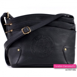 Tania czarna torebka z pieczątką z dwoma kieszeniami z przodu