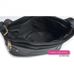 Zamykana suwakiem czarna torebka damska
