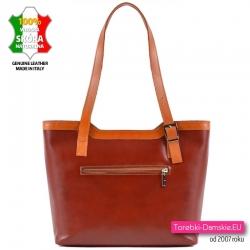 Skórzana torebka z kieszenią z tyłu - dwukolorowa - brąz z jasnym karmelowym brązem