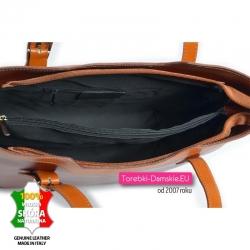 Włoska skórzana torebka z przegrodą w środku