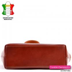 Brązowa klasyczna torebka skórzana z prostokątnym sztywnym spodem
