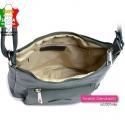 Zamykana suwakiem lekka włoska zielona torebka z 3 kieszeniami wewnątrz