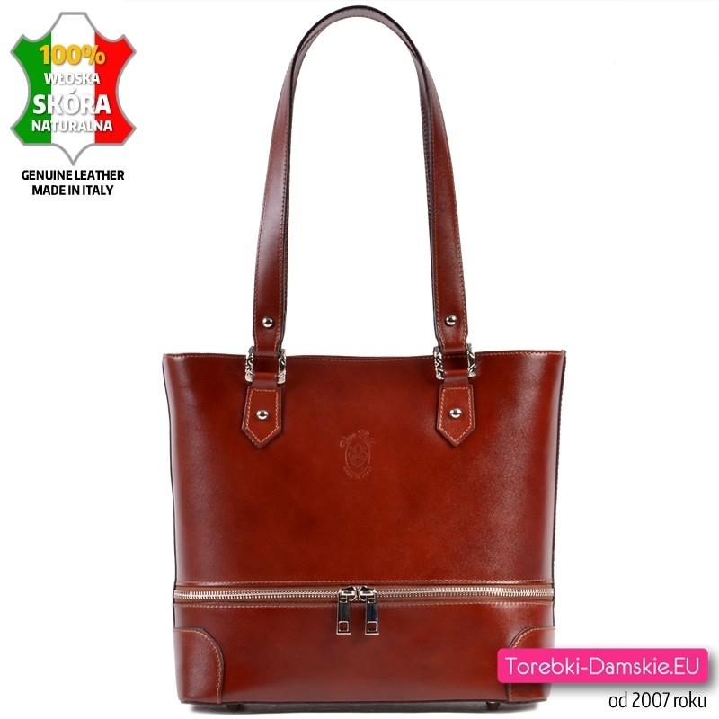 Skórzana brązowa włoska torebka damska na ramię z poziomym ozdobnym suwakiem