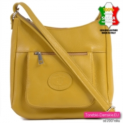 Skórzana żółta torebka damska do przewieszenia z kieszonką z przodu