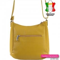 Włoska skórzana torebka damska w kolorze żółtym z kieszenią z tyłu