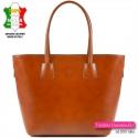 Jasnobrązowa skórzana torba A4 włoska - kolor camel