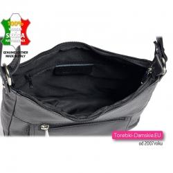 Skórzana czarna torebka średniej wielkości zamykana suwakiem z 3 kieszeniami wewnątrz