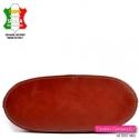 Torebka skórzana w kolorze brązowym - spód w kształcie eliptycznym