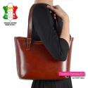 Włoska brązowa klasyczna torebka na ramię w odcieniu kasztanowym