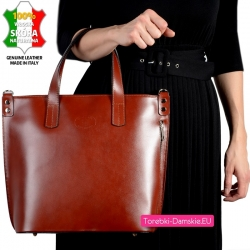 Duża skórzana brązowa torba damska A4 w modnym fasonie