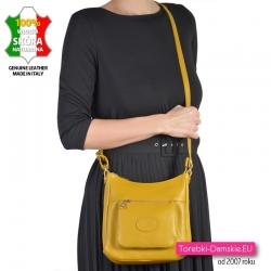 Żółta torebka ze skóry - modny odcień, model do noszenia w przewieszeniu