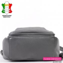 Duży pojemny szary włoski plecak damski ze skóry