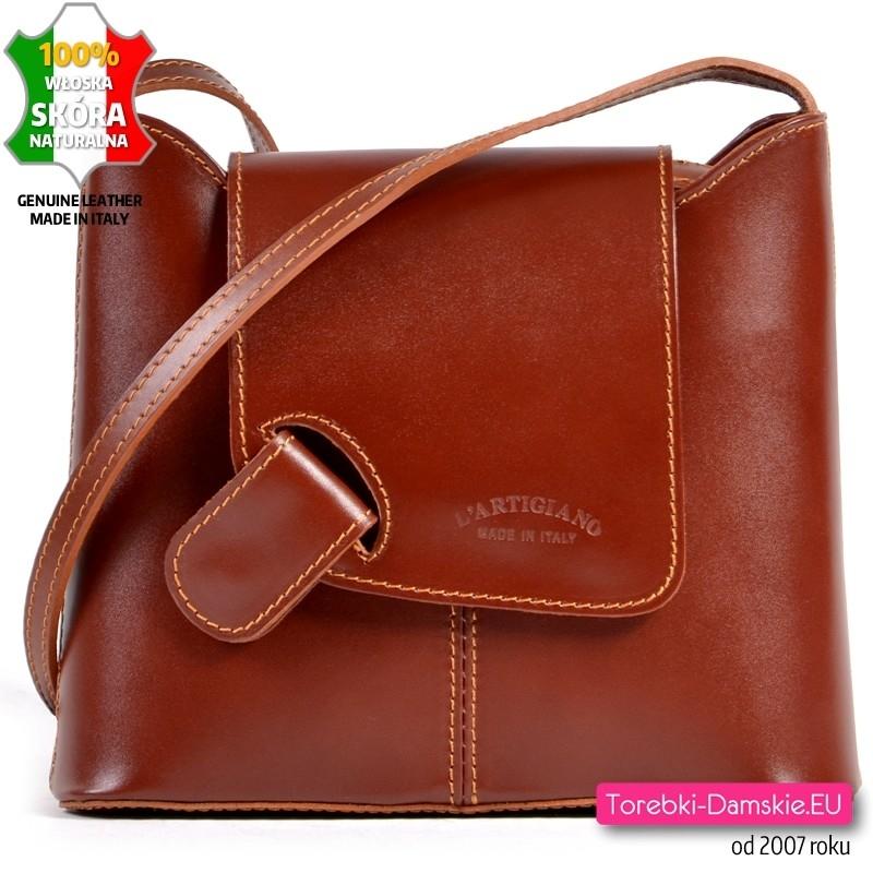 Brązowa skórzana włoska torebka listonoszka z klapką średniej wielkości
