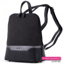 Plecak miejski damski czarny z pikowanym przodem